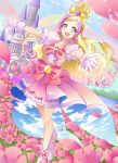 1girl :d absurdres bangs blonde_hair castle collarbone cure_flora day dress dutch_angle earrings field flower flower_field gloves go!_princess_precure green_eyes highres jewelry long_hair multicolored_hair open_mouth outdoors outstretched_arms outstretched_hand parted_bangs pink_dress pink_flower precure purple_hair smile solo standing tied_hair two-tone_hair very_long_hair white_gloves yuutarou_(fukiiincho)