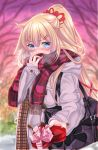 1girl akai_haato alternate_costume alternate_hairstyle bag blonde_hair blue_eyes blurry blurry_background blush coat commentary_request covering_mouth gift hair_ornament hairclip hasanishi heavy_breathing hololive looking_at_viewer ponytail scarf school_bag solo tsundere valentine virtual_youtuber winter_clothes winter_coat