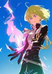 1boy belt black_gloves black_jacket cravat fire gloves green_hair half_gloves highres jacket jewelry ligton1225 lio_fotia looking_at_viewer male_focus promare purple_fire pyrokinesis short_hair smile solo violet_eyes