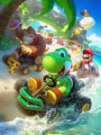 beach cassio_yoshiyaki clenched_teeth clouds collaboration commentary day donkey_kong drifting driving full_body go_kart highres lakitu mario mario_(series) mario_kart ocean outdoors renato_giacomini sand smile teeth water yoshi