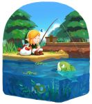1boy ayumi_(830890) blonde_hair brown_footwear bug butterfly cucco fish fishing grass green_headwear green_tunic highres insect link looking_at_another pants pond seaweed sleeping the_legend_of_zelda the_legend_of_zelda:_link's_awakening tree white_pants