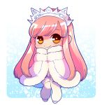1girl chibi cloak fate/grand_order fate_(series) fur_coat fur_collar leg_warmers long_hair medb_(fate)_(all) medb_(fate/grand_order) nishiyama_(whatsoy) pink_hair solo tiara yellow_eyes