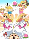 !? 1boy ass belt blonde_hair circlet commentary_request confused dress highres huge_ass link long_hair pauldrons pointy_ears princess_zelda smug squarewave the_legend_of_zelda the_legend_of_zelda:_breath_of_the_wild white_dress wide_hips
