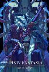 1boy armor bow braid highres horns japanese_armor katana long_hair male_focus parted_lips pauldrons pixiv_fantasia pixiv_fantasia_age_of_starlight satome_setsuko scabbard sheath sheathed sitting solo sword throne weapon white_hair yellow_bow yellow_eyes