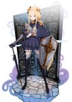 1girl abigail_williams_(fate/grand_order) alternate_costume armor armored_dress bangs black_bow black_dress blonde_hair blue_eyes boots bow commentary_request dress fate/grand_order fate_(series) full_body gauntlets hair_bow hair_ornament highres holding holding_shield holding_sword holding_weapon long_hair looking_at_viewer orange_bow parted_bangs polka_dot polka_dot_bow rihyaruto_bafuman shield smile solo sword thigh-highs thigh_boots very_long_hair weapon