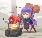 :> blush boned_meat chibi cooking fire flame food green_ribbon long_hair love_live! love_live!_school_idol_project low_twintails meat meat_day minami_kotori_(bird) muse_loss musical_note purple_hair ribbon rotisserie skirt toujou_nozomi twintails