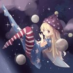 1girl absurdres american_flag_dress american_flag_legwear blonde_hair blush clownpiece fairy_wings floating fujii_shino hat highres jester_cap long_hair looking_at_viewer moon neck_ruff red_eyes solo space sparkle touhou v-shaped_eyebrows very_long_hair wings