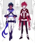 2boys arjuna_(fate/grand_order) arjuna_alter black_hair burning_garment_of_three_gods capelet chest_tattoo child dark_skin dark_skinned_male fate/grand_order fate_(series) heterochromia horns karna_(fate) male_focus mchi multiple_boys multiple_tails red_eyes red_skin redhead tail tattoo two_tails white_skin yellow_eyes younger