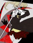 1girl blonde_hair commentary_request gloves green_eyes long_hair long_sleeves looking_at_viewer maka_albarn reirou_(re16ko89) scythe skirt solo soul_eater twintails