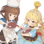 2girls :q apron bangs blonde_hair blue_dress blunt_bangs blush bowl bridgette_(granblue_fantasy) brown_hair charlotta_fenia check_character chef_hat chocolate chocolate_on_face commentary_request crown dress flipped_hair food food_on_face granblue_fantasy hair_between_eyes harvin hat long_hair maid_headdress multiple_girls o_(rakkasei) pointy_ears puffy_short_sleeves puffy_sleeves short_sleeves simple_background smile tongue tongue_out v-shaped_eyebrows valentine very_long_hair whisk white_apron white_background
