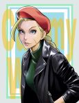 ahoge beret black_jacket blonde_hair blue_eyes breasts cammy_white casual eyelashes facial_scar forehead green_leotard hand_in_pocket hat highres huge_ahoge jacket leather leather_jacket leotard lips long_braid long_hair looking_at_viewer medium_breasts nose red_headwear scar scar_on_cheek street_fighter to-ru turtleneck_leotard upper_body