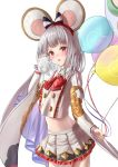 1girl 2020 absurdres animal animal_ears balloon blush buttons chinese_zodiac crop_top crop_top_overhang eyebrows eyebrows_visible_through_hair granblue_fantasy hairband highres holding holding_animal holding_balloon looking_at_viewer mouse mouse_ears new_year rat rat_ears red_eyes shirt silver_hair simple_background solo user_rymn2453 vikala_(granblue_fantasy) white_shirt wide_sleeves year_of_the_rat