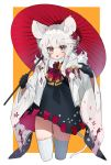 1girl animal animal_ears black_dress black_gloves cropped_legs dress gloves grey_eyes haori highres holding holding_umbrella japanese_clothes long_hair looking_at_viewer mid_(gameshe) mouse mouse_ears mouse_tail oriental_umbrella original parted_lips slit_pupils solo tail thigh-highs umbrella white_hair white_legwear wide_sleeves