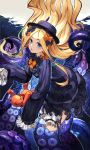 1girl abigail_williams_(fate/grand_order) absurdres bangs black_bow black_dress black_footwear black_headwear blonde_hair bloomers blue_eyes bow bug butterfly dpea9 dress fate/grand_order fate_(series) floating_hair hair_bow hat highres insect long_hair long_sleeves looking_at_viewer object_hug orange_bow parted_bangs parted_lips shoes sleeves_past_fingers sleeves_past_wrists solo stuffed_animal stuffed_toy suction_cups teddy_bear tentacles underwear upper_teeth very_long_hair white_bloomers