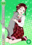 blush brown_eyes cat character_name dress long_hair love_live!_school_idol_festival love_live!_sunshine!! purple_hair sakurauchi_riko smile wink