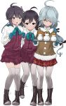 3girls absurdres ahoge black_ribbon blue_gloves blue_neckwear boots bow bowtie braid brown_eyes cross-laced_footwear dress fujinami_(kantai_collection) full_body gegeron gloves grey_hair grey_legwear hair_over_eyes hair_ribbon hamanami_(kantai_collection) hayanami_(kantai_collection) highres kantai_collection lace-up_boots long_hair long_sleeves looking_at_another looking_at_viewer mittens multiple_girls pantyhose pleated_dress ponytail purple_dress purple_hair ribbon school_uniform seamed_legwear shirt short_hair side-seamed_legwear side_ponytail sidelocks single_braid smile snowman thigh-highs white_ribbon white_shirt yellow_eyes