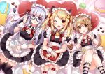3girls :d ;d alternate_costume animal_band_legwear animal_ear_fluff animal_ears animal_print apron bangs bed_sheet black_dress black_legwear blonde_hair blue-framed_eyewear blush bow brown_eyes brown_hair cat_band_legwear cat_print character_request commentary_request crossover dress enmaided eyebrows_visible_through_hair fangs feet_out_of_frame food frilled_apron frilled_legwear frills garter_straps glasses hair_between_eyes hair_ribbon heart heart_pillow hoonie_(hoonie_friends) hoonie_friends lying macaron maid miru_annin miru_annin_channel multiple_girls on_back one_eye_closed one_side_up open_mouth pillow print_legwear puffy_short_sleeves puffy_sleeves purple_hair red_bow red_ribbon ribbon semi-rimless_eyewear short_sleeves smile socks star_pillow striped striped_legwear tail thigh-highs twintails under-rim_eyewear usagihime violet_eyes virtual_youtuber waist_apron white_apron white_legwear wrist_cuffs