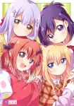 4girls absurdres bat_hair_ornament blonde_hair blue_eyes brown_eyes cross_hair_ornament fang gabriel_dropout hair_ornament hair_rings highres kurumizawa_satanichia_mcdowell lavender_hair long_hair long_sleeves looking_at_viewer multiple_girls namori open_mouth pajamas purple_hair red_eyes redhead shiraha_raphiel_ainsworth short_hair tenma_gabriel_white tsukinose_vignette_april upper_body v violet_eyes x_hair_ornament