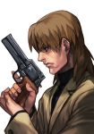 1boy brown_eyes brown_hair closed_mouth coat ghost_in_the_shell ghost_in_the_shell_stand_alone_complex gun handgun hankuri holding holding_gun holding_weapon male_focus mateba_2008m mullet profile revolver solo sweater togusa turtleneck turtleneck_sweater weapon white_background