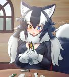 1girl animal_ear_fluff animal_ears between_breasts blue_eyes blush breasts commentary commentary_request eyebrows_visible_through_hair fang fur_collar gloves grey_wolf_(kemono_friends) heterochromia indoors kemono_friends large_breasts long_hair looking_down mo23 multicolored_hair necktie necktie_between_breasts open_mouth plaid_neckwear sitting solo tail tail_wagging two-tone_hair white_gloves wolf_ears wolf_girl wolf_tail yellow_eyes
