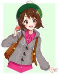1girl backpack bag bangs blush brown_eyes brown_hair cardigan cowboy_shot dress green_background green_headwear grey_cardigan hat highres holding holding_poke_ball long_sleeves looking_at_viewer open_mouth pink_dress poke_ball poke_ball_(generic) pokemon pokemon_(game) pokemon_swsh racchi. short_hair simple_background smile solo tam_o'_shanter yuuri_(pokemon)