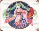 1girl :d bangs bow elsa_(g557744) fan floating_hair floral_print flower full_body green_eyes green_hair hair_between_eyes hair_bow hair_flower hair_ornament hair_ribbon hatsune_miku holding holding_fan japanese_clothes kimono long_hair long_sleeves looking_at_viewer obi open_mouth pink_flower pink_kimono print_kimono purple_ribbon red_bow ribbon sash shiny shiny_hair smile solo tabi twintails very_long_hair vocaloid white_legwear wide_sleeves yukata