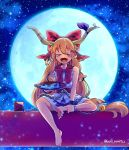 1girl alcohol artist_request bangs barefoot belt bow chain closed_eyes commentary_request cuffs cup fang full_moon hair_bow highres horn_ribbon horns ibuki_suika long_hair low-tied_long_hair moon neckerchief night night_sky oni open_mouth orange_hair red_bow red_neckwear ribbon sakazuki sake shirt sidelocks sitting sky sleeveless sleeveless_shirt solo star_(sky) starry_sky torii torn_clothes torn_sleeves touhou very_long_hair white_shirt