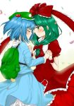 2girls aoi_chiruko backpack bag blue_hair bow closed_eyes commentary_request dress facing_another frilled_ribbon frills front_ponytail green_backpack green_eyes green_hair green_headwear hair_bobbles hair_bow hair_ornament holding_hands interlocked_fingers kagiyama_hina kawashiro_nitori long_sleeves looking_at_another multiple_girls puffy_short_sleeves puffy_sleeves red_bow red_dress red_ribbon ribbon short_sleeves touhou wrist_cuffs yuri
