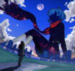 1boy 1girl breasts clouds female_protagonist_(persona_3) giantess hair_ornament hairclip highres ikutsuki_shuuji ine_(goin) moon persona persona_3 scarf school_uniform short_hair skirt socks space