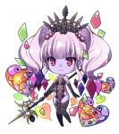 1girl bare_shoulders black_gloves black_legwear breasts chibi closed_mouth elbow_gloves final_fantasy final_fantasy_xiv frown full_body gloves heart holding holding_spear holding_weapon knees_together_feet_apart pink_eyes polearm purple_hair purple_skin scathach_(ffxiv) short_hair sidelocks simple_background small_breasts solo spear thigh-highs tiara twintails weapon white_background yuma_(pixiv38148735)