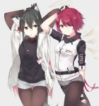 2girls animal_ear_fluff animal_ears arknights bangs black_gloves black_hair black_legwear breasts brown_eyes character_name commentary_request copyright_name exusiai_(arknights) fingerless_gloves gloves grin hair_between_eyes hair_over_one_eye halo highres jacket long_hair long_sleeves looking_at_viewer multiple_girls pantyhose parusu_(ehyfhugj) redhead short_hair short_shorts shorts small_breasts smile solo texas_(arknights) v white_jacket white_shorts