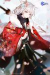 1girl absurdres animal_ears azur_lane cherry_blossoms commentary copyright_name cowboy_shot english_commentary fan floral_print flower folding_fan fur-trimmed_kimono fur_trim furisode hair_flower hair_ornament hair_stick highres japanese_clothes jiayue_wu kimono logo long_sleeves looking_at_viewer medium_hair montpelier_(azur_lane) montpelier_(flower_in_the_snowy_night)_(azur_lane) official_art petals red_eyes silver_hair smile solo standing umbrella watermark wide_sleeves