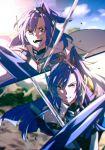2girls blue_eyes blue_hair dual_persona fighting highres katana kazanari_tsubasa long_hair multiple_girls rhapsode senki_zesshou_symphogear senki_zesshou_symphogear_xd_unlimited side_ponytail smile sparks sword weapon