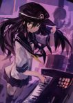 1girl absurdres akatsuki_(kantai_collection) black_headwear black_sailor_collar black_skirt flat_cap hair_between_eyes hat highres instrument kaamin_(mariarose753) kantai_collection keyboard_(instrument) long_hair music neckerchief playing_instrument pleated_skirt purple_hair sailor_collar school_uniform serafuku skirt smile solo standing violet_eyes yellow_neckwear