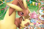 :o cake candy cookie creature cup food gen_4_pokemon grass himeno_kagemaru lopunny macaron no_humans official_art pink_eyes pokemon pokemon_(creature) pokemon_trading_card_game rabbit saucer solo standing table tablecloth tea teacup third-party_source