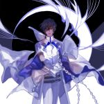 1boy arjuna_(fate/grand_order) black_hair blue_hair brown_hair cape cowboy_shot crescent_moon dark_skin dark_skinned_male fate/grand_order fate_(series) gloves highres male_focus mchi moon multicolored_hair orb outstretched_hand solo standing white_gloves