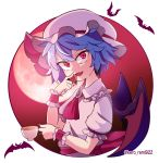 1girl absurdres artist_request ascot bat bat_wings blue_hair brooch commentary_request cup fang food frilled_shirt_collar frills fruit full_moon hat highres jewelry mob_cap moon night night_sky puffy_short_sleeves puffy_sleeves red_eyes remilia_scarlet sash short_hair short_sleeves sky solo strawberry teacup touhou wings wrist_cuffs