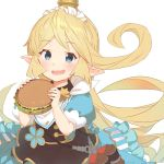 1girl :d blue_dress blue_eyes charlotta_fenia commentary_request dress eyebrows_visible_through_hair flipped_hair food frilled_dress frills granblue_fantasy hamburger harvin long_hair looking_at_viewer maid_headdress o_(rakkasei) open_mouth pointy_ears puffy_short_sleeves puffy_sleeves short_sleeves simple_background smile solo very_long_hair white_background