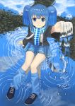 1girl bad_id bad_twitter_id bangs blue_eyes blue_hair blue_scarf blue_skirt blue_theme clouds cloudy_sky commentary_request day dot_nose eyebrows_visible_through_hair highres looking_at_viewer looking_up original outstretched_arm reflection ripples scarf shoes short_hair sitting_on_water skirt sky smile solo twintails wasabi60 water_in_hands