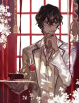 1boy arjuna_(fate/grand_order) bespectacled black_eyes black_hair cake dark_skin dark_skinned_male european_clothes fate/grand_order fate_(series) food glasses highres holding holding_plate male_focus mchi plate solo thinking window