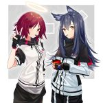 2girls :t absurdres animal_ears arknights bangs black_capelet black_gloves black_hair blush breasts brown_eyes capelet commentary_request cowboy_shot exusiai_(arknights) eyebrows_visible_through_hair food food_in_mouth gloves hair_between_eyes halo hand_up high_collar highres holding id_card jacket long_hair long_sleeves looking_at_viewer medium_breasts mouth_hold multiple_girls pocky raglan_sleeves red_eyes redhead short_hair short_sleeves standing texas_(arknights) v white_jacket wolf_ears you'a
