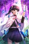 1girl bangs black_hair black_jacket black_skirt blunt_bangs blurry blurry_background butterfly_hair_ornament butterfly_on_hand cape closed_mouth cowboy_shot flower hair_ornament highres jacket kimetsu_no_yaiba long_hair long_sleeves miniskirt pink_eyes pleated_skirt plus1024 sheath sheathed shiny shiny_hair side_ponytail skirt smile solo standing sword tsuyuri_kanao weapon white_cape wisteria