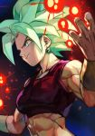 1girl abs arms_at_sides black_background blue_background bracelet breasts crop_top cupping_hands dark_background dragon_ball dragon_ball_super earrings energy_ball eyelashes frown gradient gradient_background green_eyes green_hair grin hands_up hankuri jewelry kefla_(dragon_ball) light_particles looking_away medium_breasts midriff muscle muscular_female potara_earrings shaded_face short_hair simple_background sleeveless smile solo spiky_hair super_saiyan upper_body v-shaped_eyebrows very_short_hair