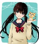 1girl alternate_color alternate_eye_color alternate_hair_color animal arm_at_side bangs beige_sweater black_eyes black_hair blue_background blue_sailor_collar blunt_bangs cat collarbone commentary_request dot_nose hand_up happy head_tilt heart heart_in_eye hito_ten_shinome holding holding_toy kawamoto_hinata long_hair long_sleeves looking_away musical_note neck_ribbon red_ribbon red_sailor_collar ribbon sailor_collar sangatsu_no_lion school_uniform simple_background sleeves_past_wrists smile solo sparkle string_of_flags sweater symbol_in_eye toy twintails uniform upper_body