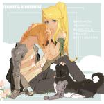 1boy 1girl animal bandaged_arm bandages bangs black_jacket black_pants blonde_hair blue_eyes blue_nails blush braid clock closed_mouth collarbone copyright_name couple dog ear_piercing earrings edward_elric flower from_side full_body fullmetal_alchemist grandialee hair_between_eyes hands_on_another's_head hetero highres holding_another's_arm jacket jacket_on_shoulders jewelry long_hair looking_at_viewer mechanical mechanical_arm nail_polish pants piercing pink_flower ponytail simple_background sitting stomach translation_request white_flower winry_rockbell
