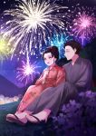 1boy 1girl black_hair character_request couple day fireworks floral_print grey_kimono hand_on_another's_shoulder highres japanese_clothes kimetsu_no_yaiba kimono long_sleeves outdoors pink_eyes pink_kimono plus1024 print_kimono purple_sky shiny shiny_hair short_hair tied_hair