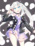 1girl absurdres black_jacket blue_eyes cosplay cowboy_shot dress fate/grand_order fate_(series) highres jacket marie_antoinette_(fate/grand_order) mary_(pokemon) mary_(pokemon)_(cosplay) namesake narumiya_(empty_cafe) poke_ball poke_ball_(generic) pokemon pokemon_(game) pokemon_swsh twintails white_hair