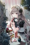 1girl absurdres applying_makeup bangs black_dress black_flower black_ribbon black_rose blush bottle breasts commentary_request dress ei_(tndusdldu) eyebrows_visible_through_hair flower frilled_hairband frilled_sleeves frills grey_hair hair_flower hair_ornament hair_ribbon hairband highres holding huge_filesize idolmaster idolmaster_shiny_colors lipstick lipstick_tube long_hair looking_at_viewer makeup makeup_brush pencil perfume_bottle puffy_short_sleeves puffy_sleeves ribbon rose short_sleeves smile solo tagme twintails vanity_table violet_eyes white_flower white_rose yuukoku_kiriko