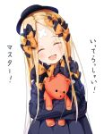 abigail_williams_(fate/grand_order) bandaid_on_forehead bangs black_bow black_dress black_headwear blonde_hair bow closed_eyes crossed_bandaids dress fate/grand_order fate_(series) forehead hair_bow hat keyhole long_hair multiple_bows object_hug orange_bow parted_bangs polka_dot polka_dot_bow ribbed_dress sakazakinchan simon sleeves_past_fingers sleeves_past_wrists smile stuffed_animal stuffed_toy teddy_bear translation_request white_legwear