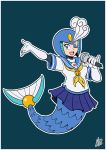 1girl android blue_eyes elbow_gloves eyeshadow full_body gloves helmet holding holding_microphone ian_dimas_de_almeida makeup mermaid microphone monster_girl music one_eye_closed open_mouth robot rockman rockman_(classic) rockman_9 sailor_collar school_uniform serafuku signature simple_background singing smile solo splash_woman